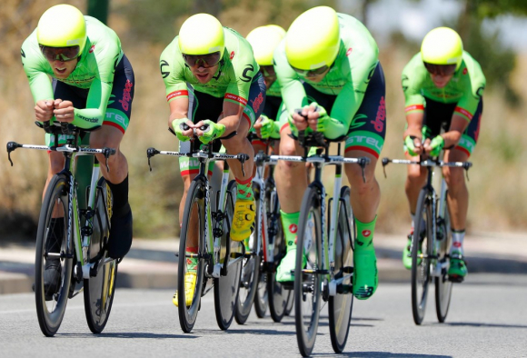 Cannondale-Drapac get aero on their Vision bars in TTT formation in Spain.