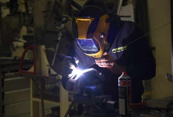 Michele Favaloro working on his FM Bike frames.