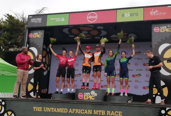 Women race podium