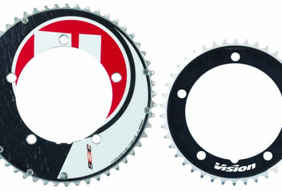 Carbon fiber wrapped aluminum Metron chainrings are available in a number of differing gearing ratios.