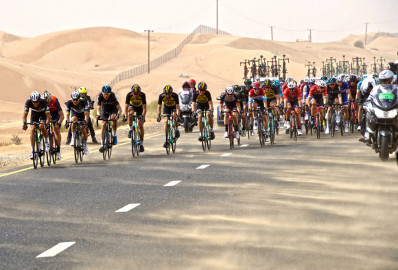 Pro peloton forming echelons at the Dubai Tour Silicon Oasis stage (photo: Claudio Peri/BettiniPhoto©2017)