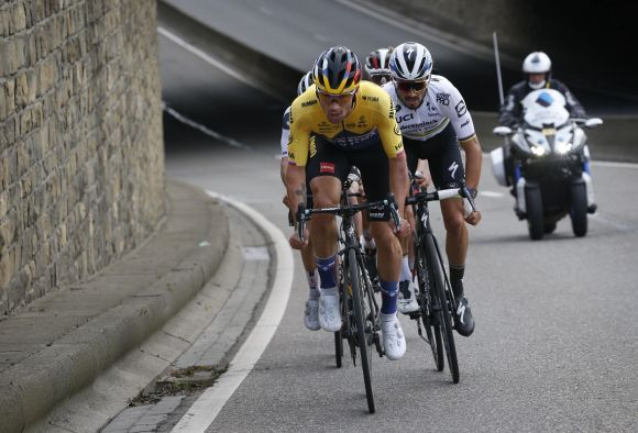 Primoz Roglic in action at Liege-Bastogne-Liege